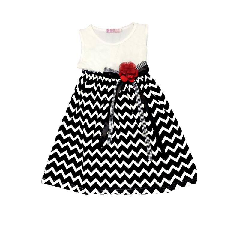 Hot sale girl dress wavy stripe bow girls leisurewear princess cute costume kids summer casual clothes children vest dresses(China (Mainland))