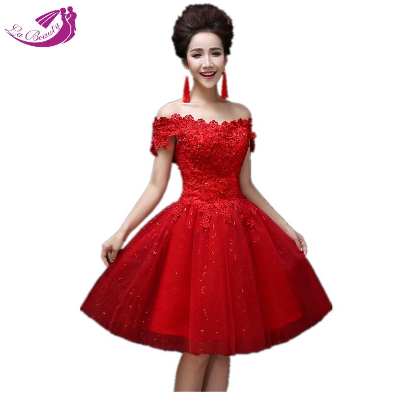 Romantic Red Ball Gown Wedding Dresses Princess Bridal Dresses Short White Wedding Dress Lace Vestidos De