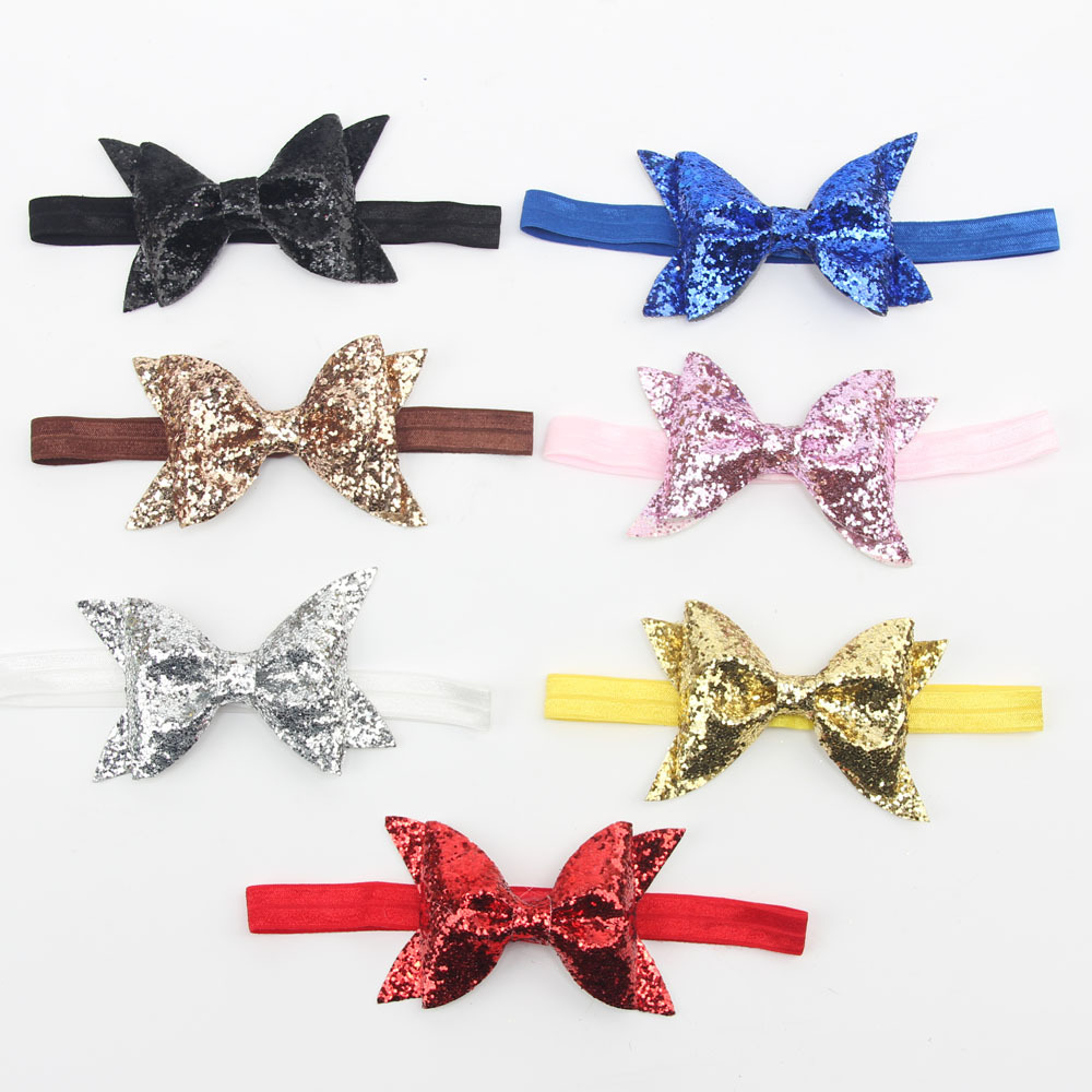 2016 new baby big Sequin Boutique shiny bow baby newborn infant headbands headwear children's girls hair accessories(China (Mainland))