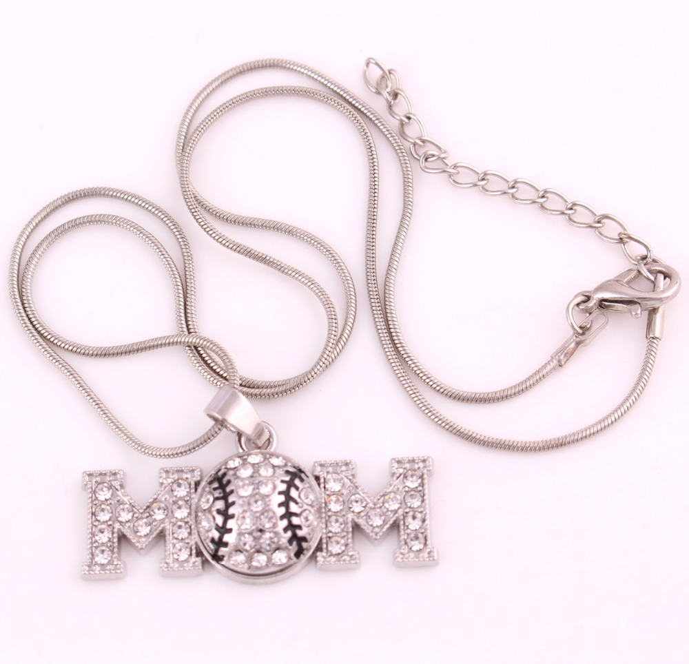 High Quality antique plated MOM Volleyball Pendant Necklace snake chain(China (Mainland))