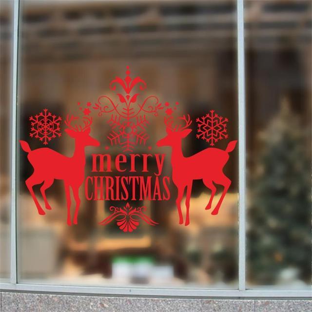 2016 рождеством олень красный цвет стекла xmas44 предметы интерьера стены стикеры обои с новым годом отличительные знаки