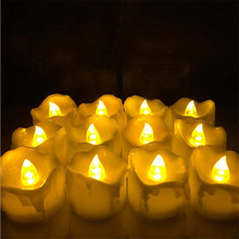 24pcs Yellow Flicker Battery Candles/ Plastic Electric Candles/ Flameless Tea Lights For Christmas Halloween Wedding Decoration(China (Mainland))