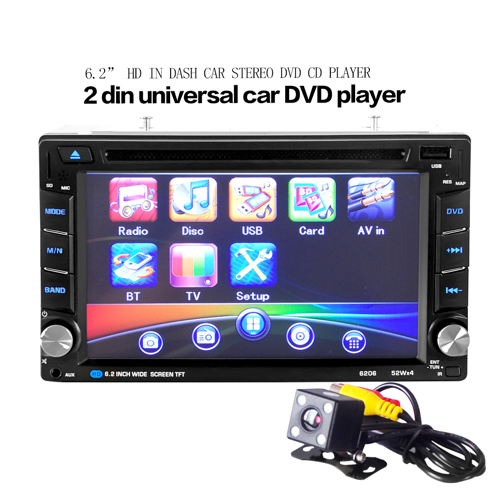 Universal 6.2 inch 2DIN Universal Car Bluetooth Touchscreen CD DVD Player Stereo MP3 AUX FM Radio USB SD Multimedia Player Host(China (Mainland))
