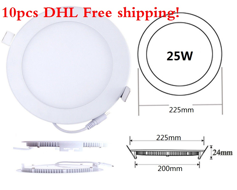 25W LED Panel Light Recessed LED Ceiling Downlight Light Warm White/White/Cold White LED indoor light AC85-265V 10pcs/lot(China (Mainland))