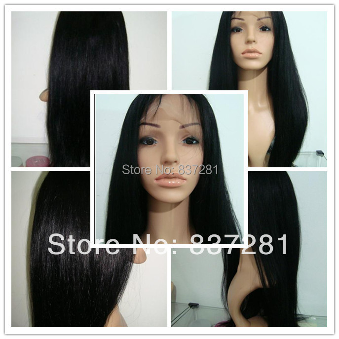 price! 1b Yaki straight 130density Lace Front wigs Brazilian hair Virign human natural - Flower factory store