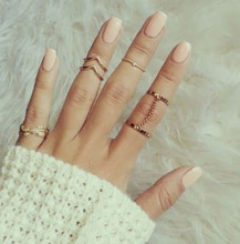 2015 New fashion Shiny Punk style Gold plated midi Finger Knuckle rings Charm Leaf Ring Set for women Jewelry 6pcs /set