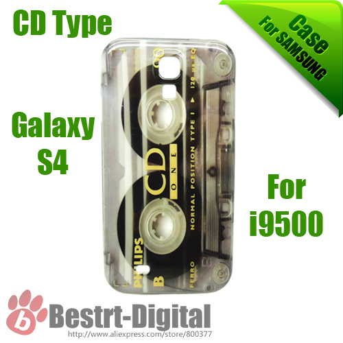 Hot CD Type Series, Plastic Cassette, hard case for Samsung Galaxy S4 i9500, free Shipping, Galaxy S IIII case, Back Cover(China (Mainland))
