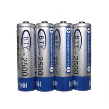 BTY 1.2V 2500mAh 4Pcs AA Ni-MH NiMH Rechargeable Battery For RC Model Camera Drone Accessories