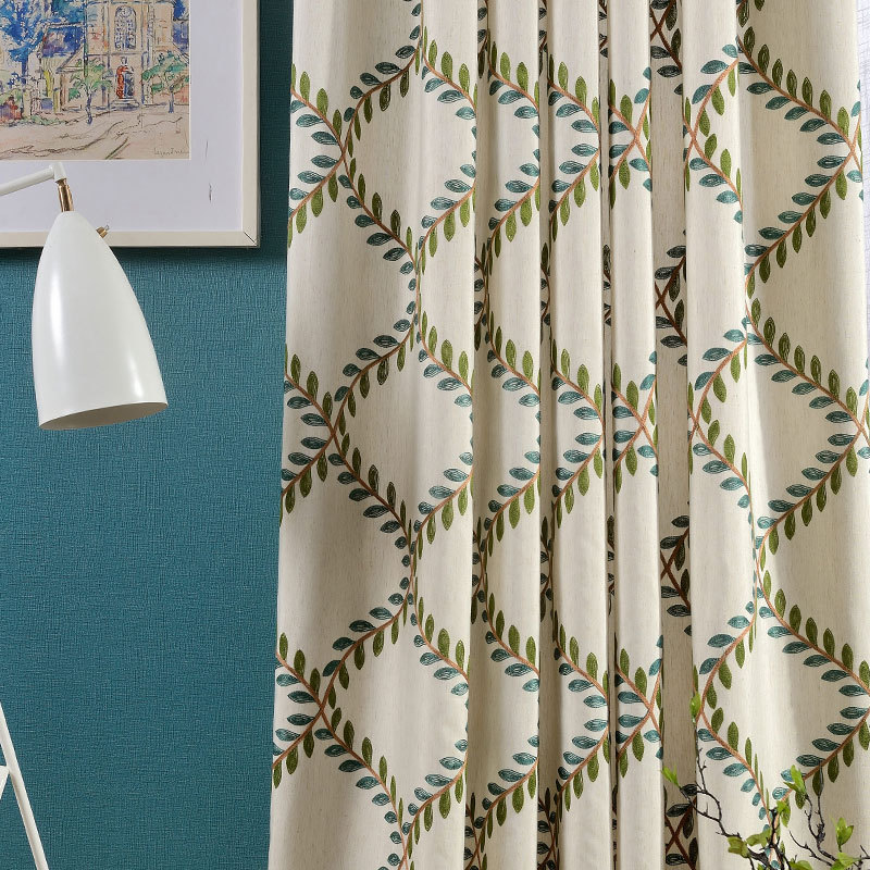 New Cotton Embroidered Curtain Fabric Luxury Fashion Curtain For Living Room Window Curtain