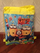 2015 minion backpack gmy school non-woven string shoe bag for boys and girls kids birthday gifts all match(China (Mainland))