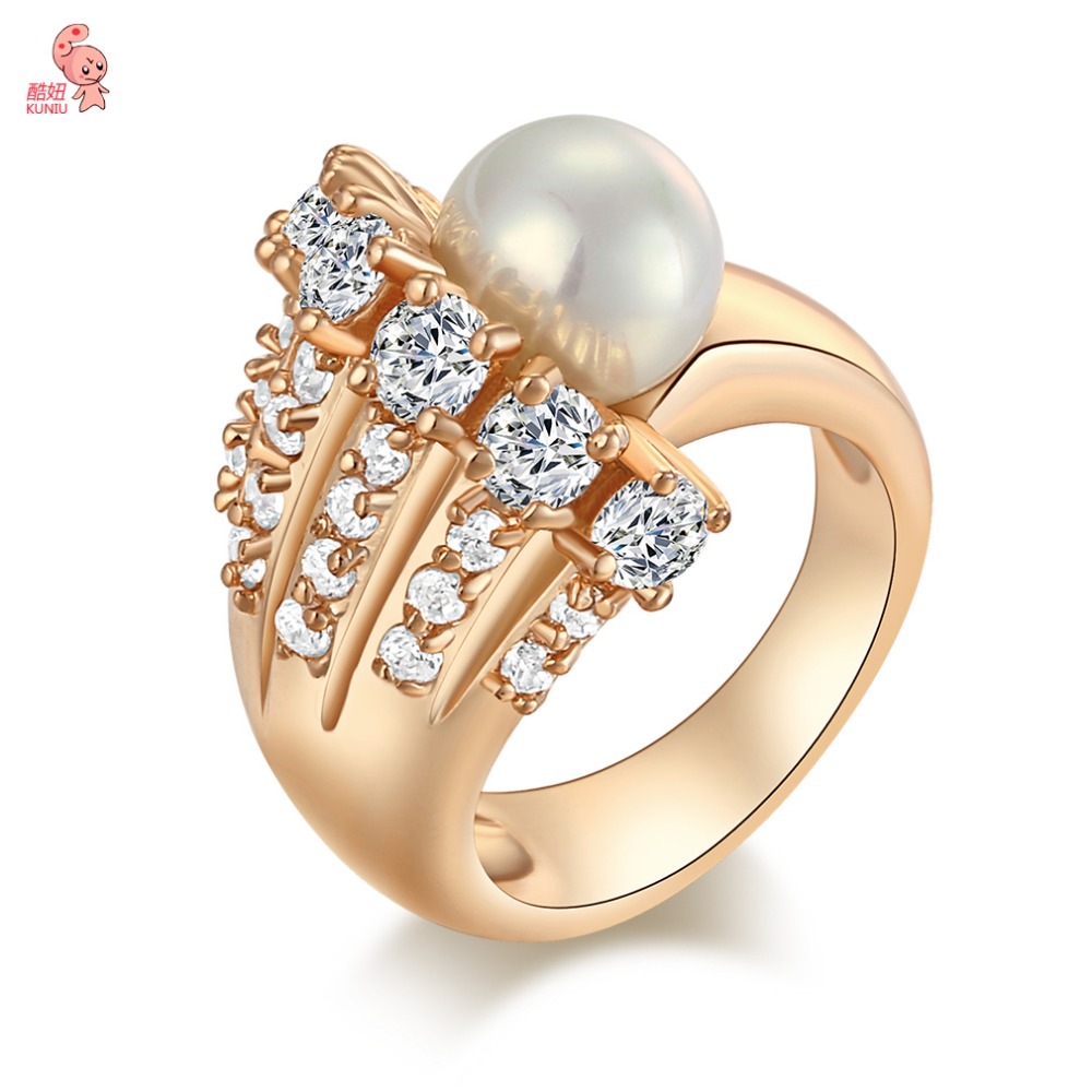 New Luxury Brand 18K Rose Gold Plated Ring Simulated pearl ring For Women Austrian Crystal Wedding Ring Size 6 7 8 9 J0561(China (Mainland))