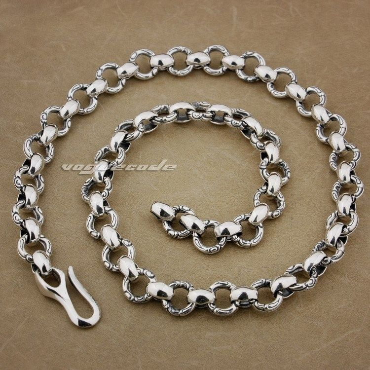 Solid 925 Sterling Silver Huge &amp; Heavy Fashion Necklace 8F001N(Length 22inch)<br><br>Aliexpress
