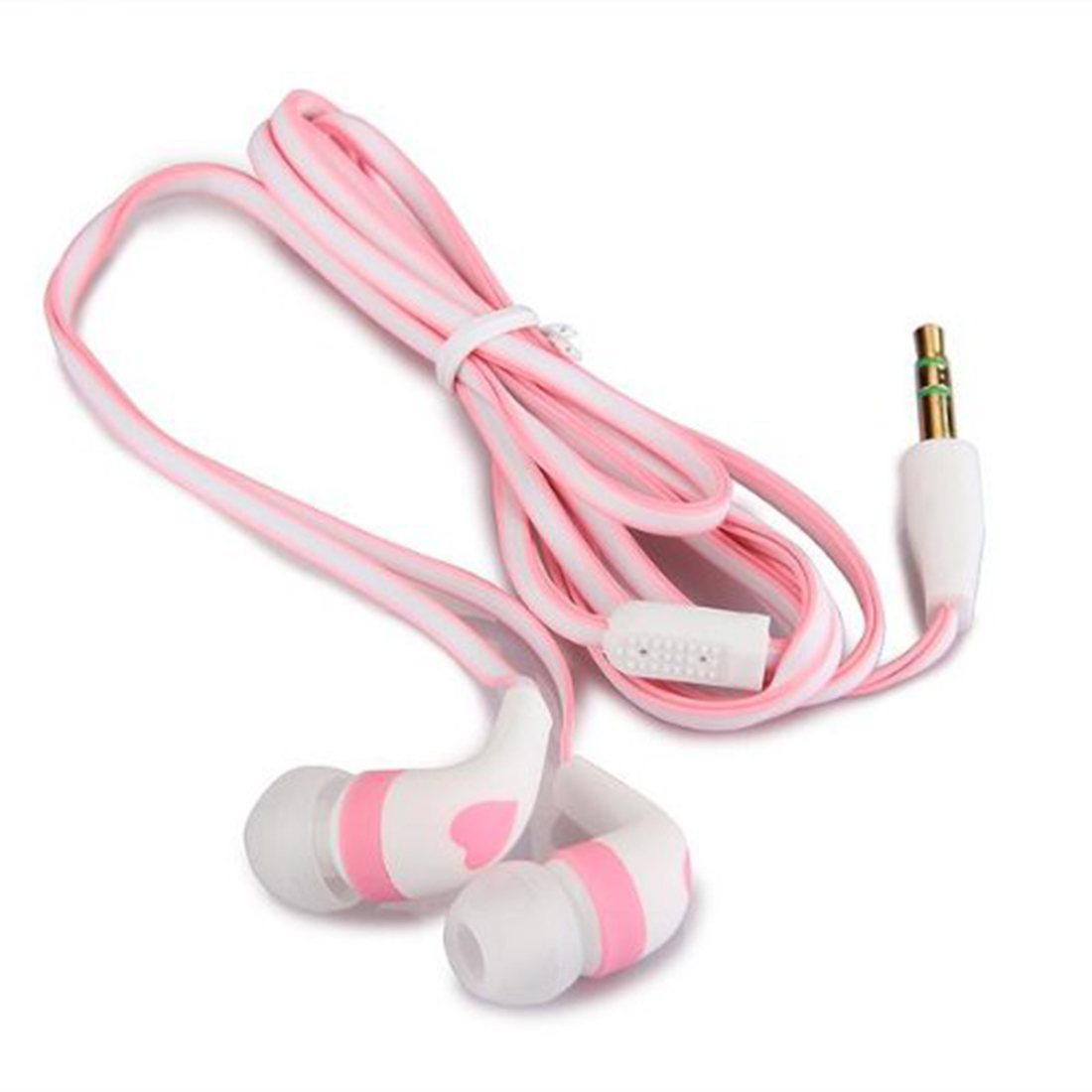 2016 New Wholesale 3.5mm Stereo In-ear Earbud Cute Heart Earphone Headset for iPhone 5 5s White + Pink Retail(China (Mainland))