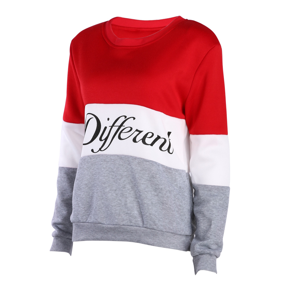 fashion printed letters different long sleeve hoodie womens casual sweatshirt hoody cotton autumn and winter women