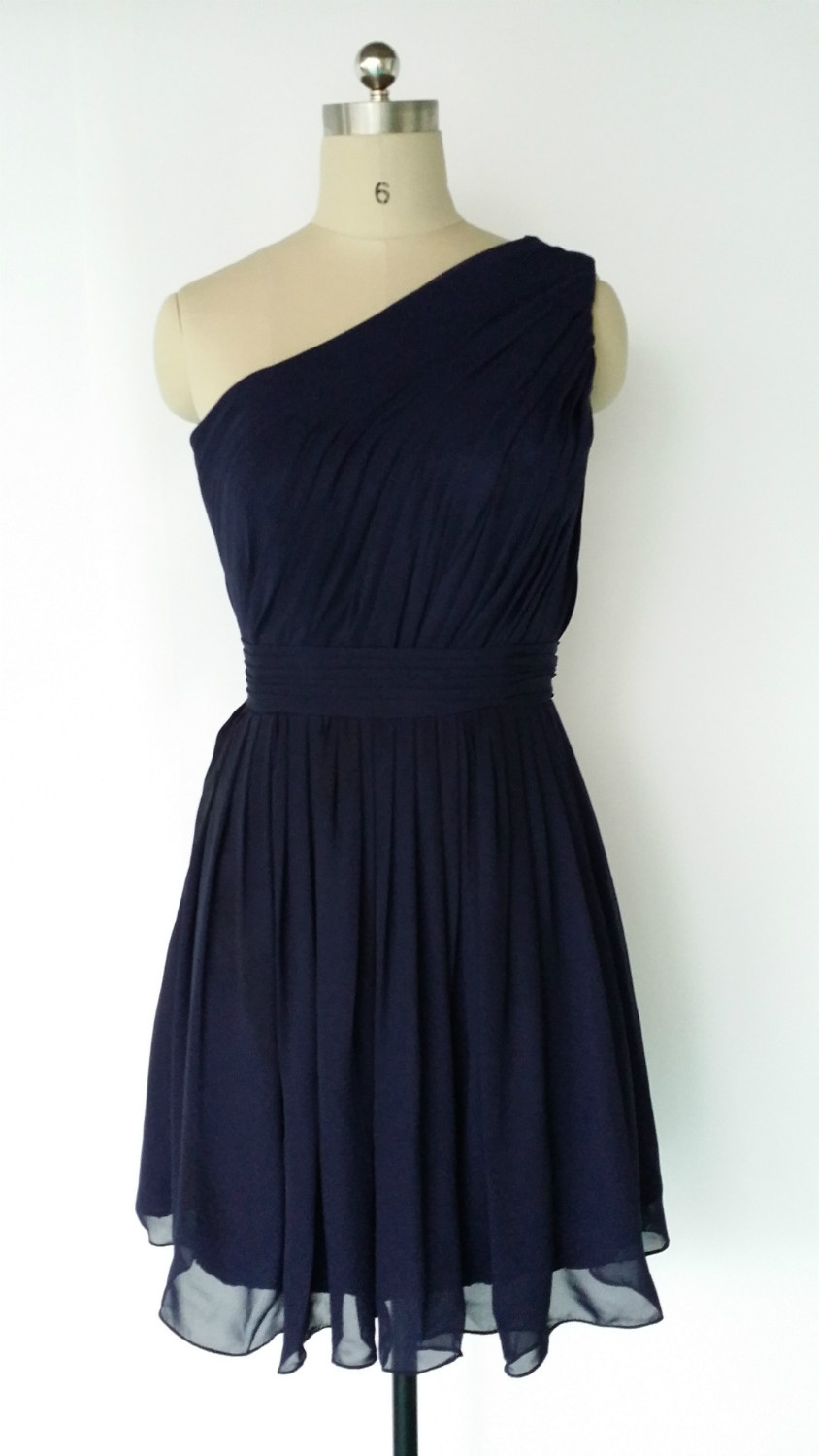 Navy blue one shoulder chiffon short bridesmaid dress for Navy dresses for weddings