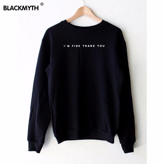 Я ПРЕКРАСНО СПАСИБО Черный свитерshirt Женщины Спортивный Костюм Случайные Толстовки ...