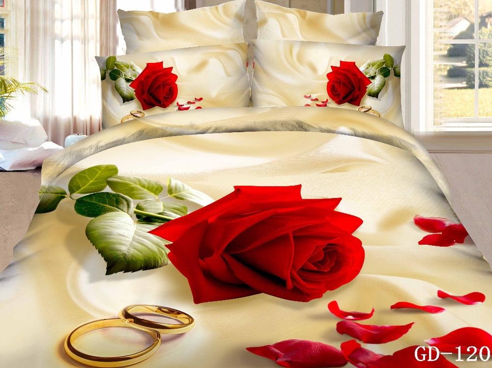 (3-7 piece) 100% Cotton 3d red rose print duvet cover set California King bedding sets duvet cover + bed sheet + pillowcase(China (Mainland))