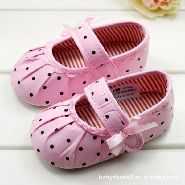HOT 0 1Years Baby Children s Girl First Walkers Polka Dot Toddler Infant Girls Soft Shoes