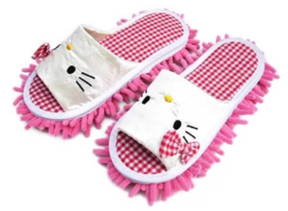 Hello Kitty Microfiber Dust Floor Cleaning Mop Slippers Detachable Room Cleaner Shoes [2 pairs white](China (Mainland))