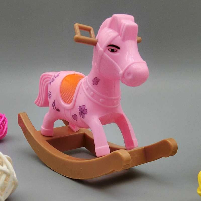 Children Toy Play Home Doll Accesorries Miniature Pink Hobbyhorse Cockhorse For 1/12 Kelly Dolls For Barbie Doll Home Items