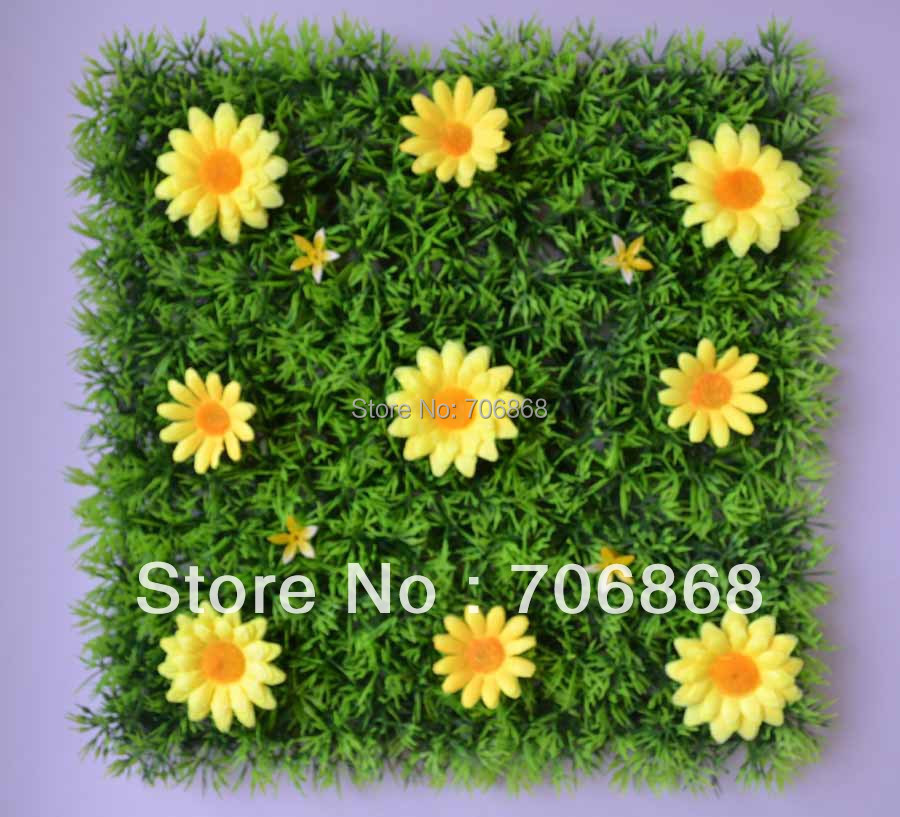 50 pieces artificial grass mat boxwood mat with silk daisy flowers of different colors 21(China (Mainland))