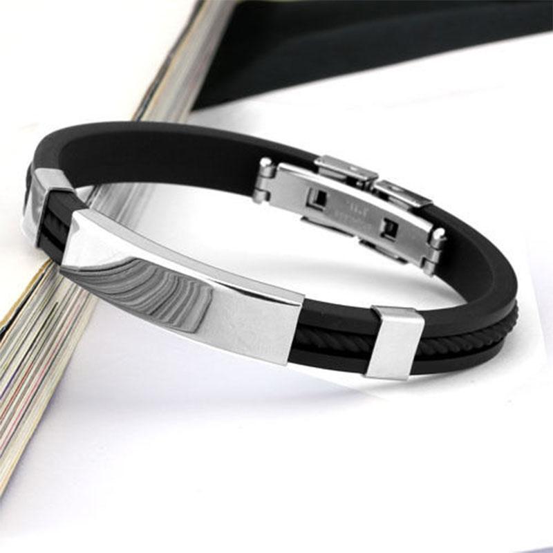 Прохладный мода мужчин черный браслет и браслеты украшения любовь-манжеты из нержавеющей стали