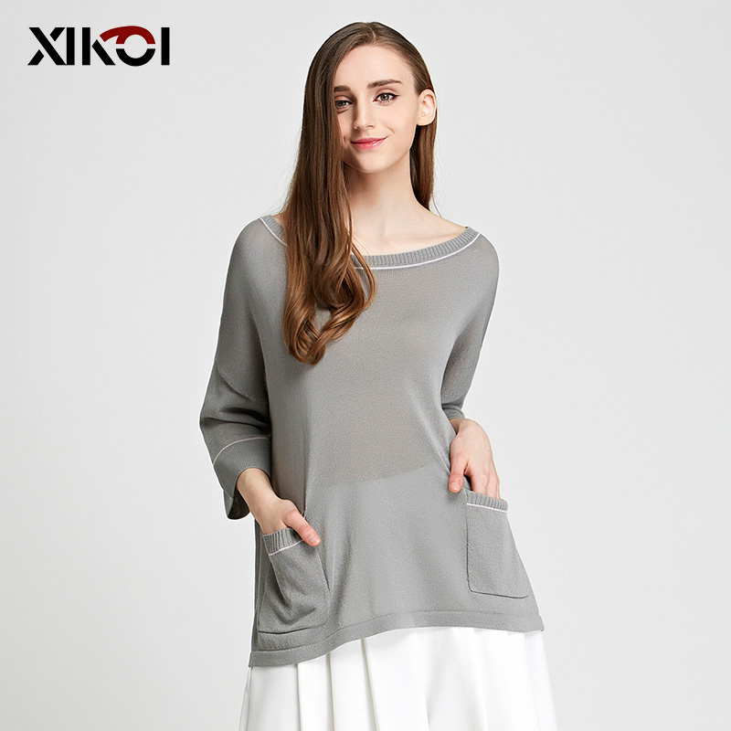XIKOI New Women's Sweaters Casual O-neck Three Quarter Solid Pullovers Flat Knitted Sweater Pullover Women HXSS16092(China (Mainland))