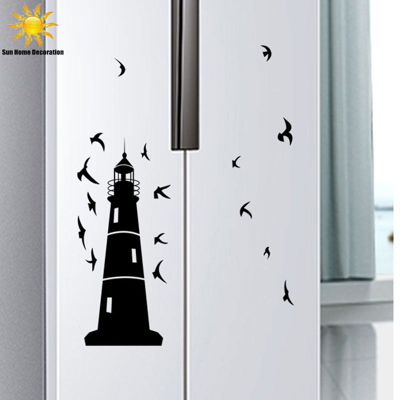 A generation monochrome birds lighthouse wall decor for Autocollant mural