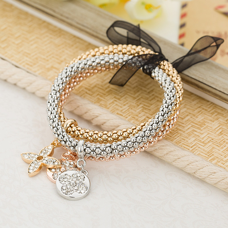 Rhinestones four leaf clovers charm bracelets women elastic zinc alloy rose gold/silver color female chain bracelet MDJB138