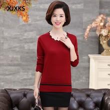 XJXKS весна и осень с длинными рукавами свитер сплошной цвет лотос лист воротник плюс размер свободный плюс размер кашемировый женский свитер(China)