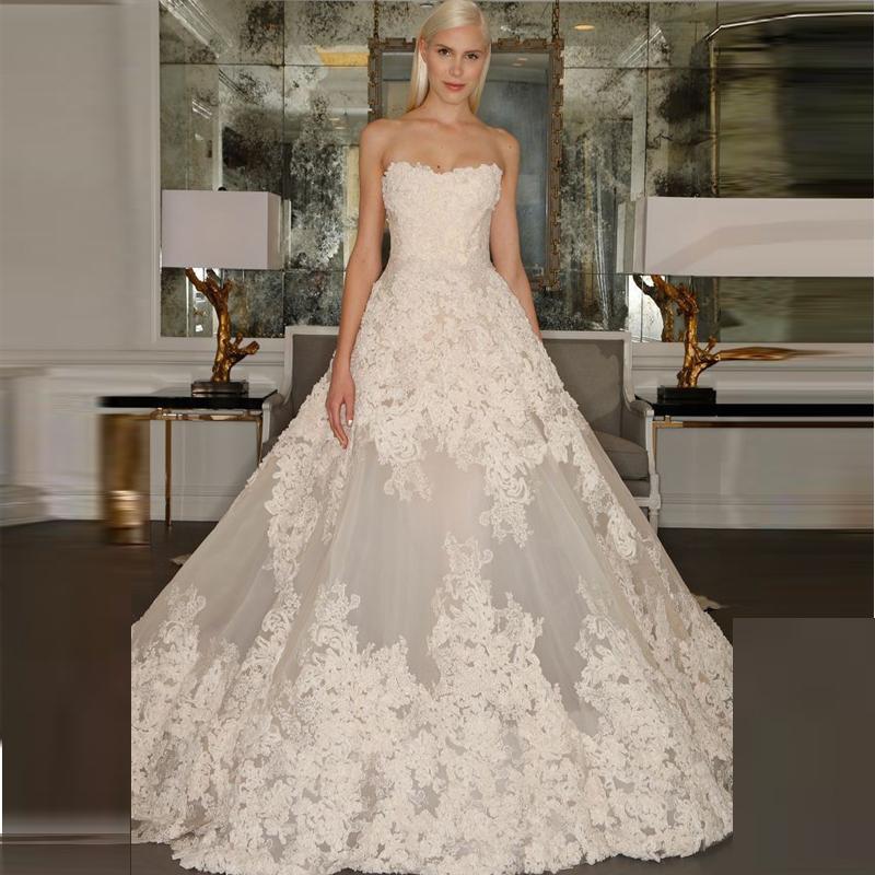 y Low Back Lace Appliqued Wedding Dresses 2015 Elegant
