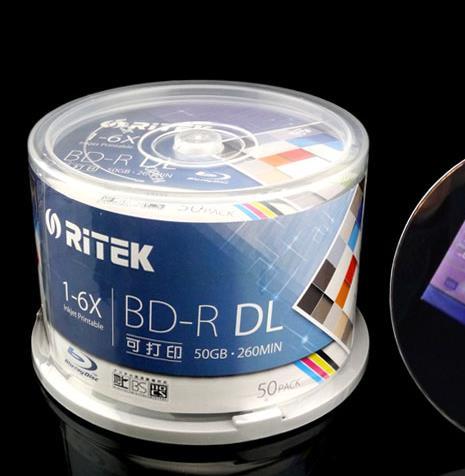 reeship BD-R 50G 50 PCS/Pack - RITEK BD-R 1-6X 50GB BDR Disc Printable Blue-ray BD-R Blank disc 100% genuine Ritek (Taiwan)(China (Mainland))