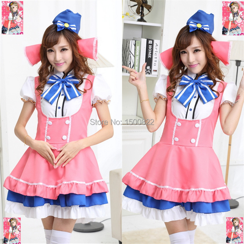 2015cute anime cosplay costume Cafe waiter serving exported to Japan High quality Lovelive South bird Anime maid service quality(China (Mainland))