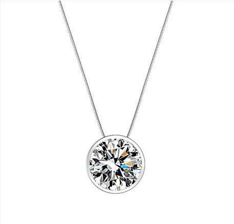 (4pcs/lot) AAA 100% Silver 925 Necklace White gemstone Shining Stars Round Necklaces & Pendants Fine Jewelry FREE SHIPPING(China (Mainland))