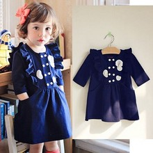 EMS DHL Free ShippingThe 2014 Koreas autumn fashion Navy Blue baby cotton Flowers dress girl princess Clothes(China (Mainland))
