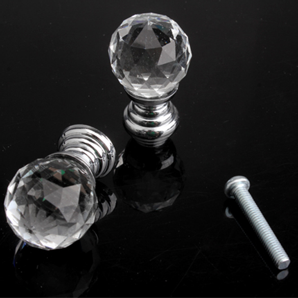 Гаджет  New Arrival 20mm Round Handle Cabinet Cupboard Crystal Glass Drawer Door Knobs Pack 10pcs FB None Мебель
