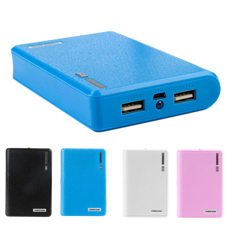 Dual USB Power Bank 4x 18650 External Backup Battery Charger Box Case Phone