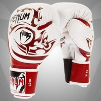 """VENUM """"TRIBAL"""" BOXING GLOVES - BLACK/GOLD - NAPPA LEATHER RED/ICE"""
