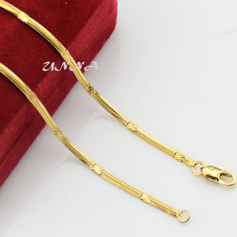 2mm Slim Small 48CM Men Woman 18K Yellow Gold Filled Snake Pattern Necklaces(China (Mainland))