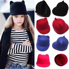 Baby Girls Boys Kids Fedora Hat Cute Cat Ears Winter Wool Derby Bowler Cap kid Devil Hat(China (Mainland))