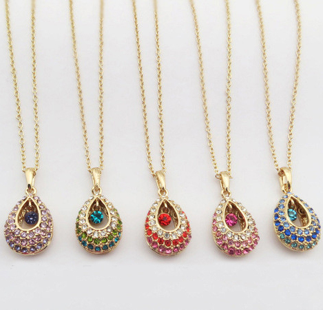 High quality women's fashion necklace Austrian crystal pendants element Brilliant Angel Tears Necklace Jewelry Wholesale(China (Mainland))