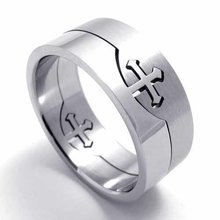 Fashion Jewelry Stainless Titanium Steel Rings Silver Cutting Cross Could Separate Couple Rings Wedding Engagement Rings 20010