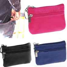 Women Men Leather Zip Coin Bag Purse Mini Money Wallet Key Pouch Pocket Gift Hot