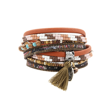 Bracelet PU Bracelets & Bangles For Women Pulseira Multi Rows Resin Set Flora Print Fabric And Beads Tassel Wrap Bracelet(China (Mainland))