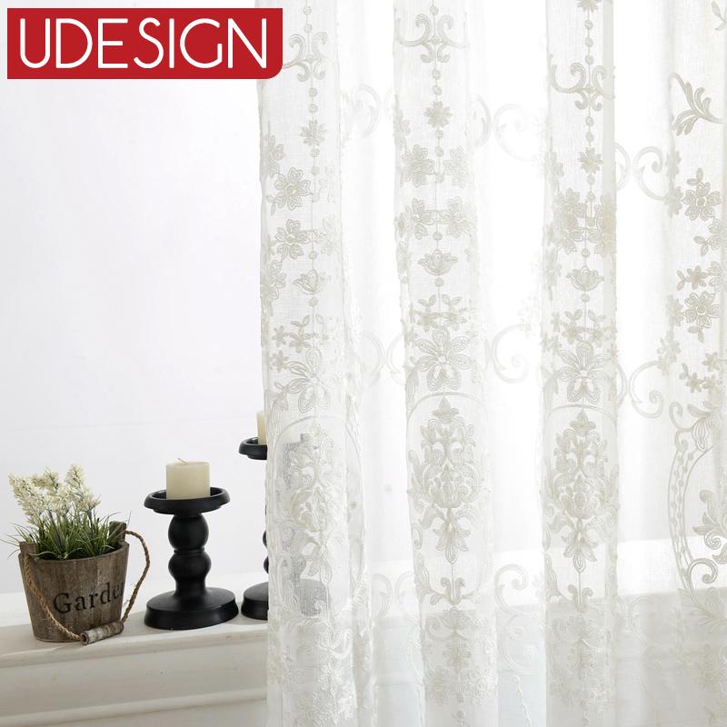 Белые шторы с вышивкой