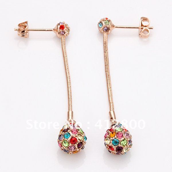 Min.order is $15 (mix order)Brand New 18K Rose Gold Plated Inlay Czech Diamond Fashion Stud Earrings Free shipping zs022(China (Mainland))