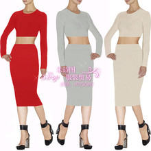 Wholesale 2015 new winter Stretch Knit Beige long sleeve Fashion casual Two Piece Set Cocktail party Bandage dress