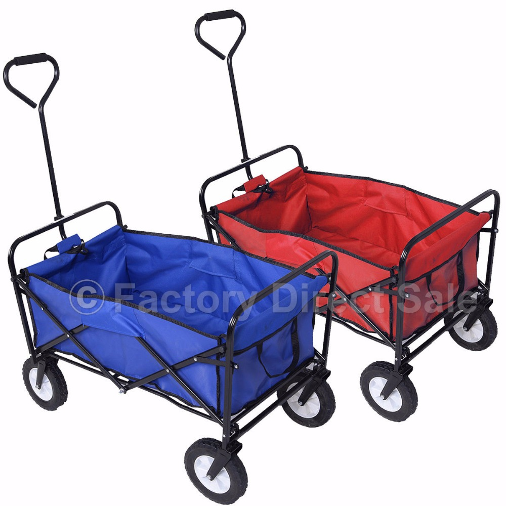 Collapsible Folding Wagon Cart Garden Buggy Shopping Beach Toy Sports Red/Blue Free Shipping TL29217(China (Mainland))
