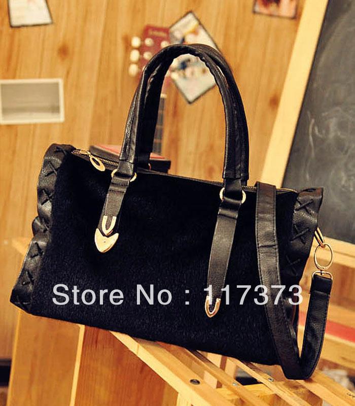 2012 New Winter Plush Handbags / Imitation Mink/ Boston Handbags(China (Mainland))