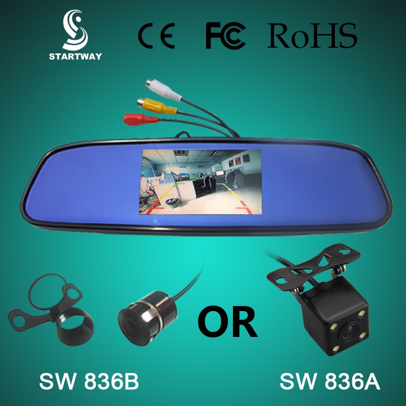 Good Sale Waterproof Night vision Car LED Rear View Camera With 4.3 inch Color LCD Car Back view Mirror Monitor SW836A(China (Mainland))